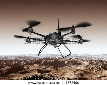 Illustration of a spy drone scanning a mountainous region - stock photo