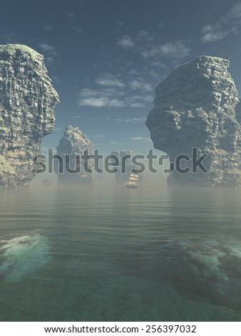 Illustration of a square rigged ship on a calm ocean sailing between towering sea stacks, 3d digitally rendered illustration - stock photo