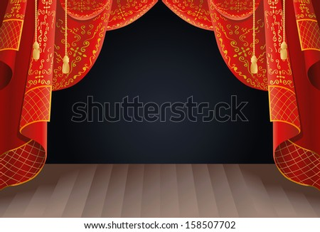illustration of a stage curtain as a background - stock photo