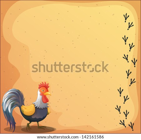 Illustration of a stationery with a rooster - stock photo