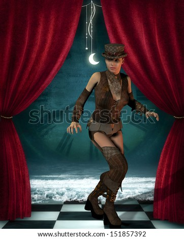 Illustration of a Steampunk woman on a stage - stock photo