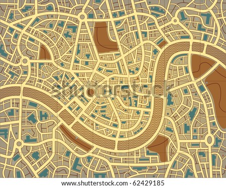 Illustration of a street map without names - stock photo