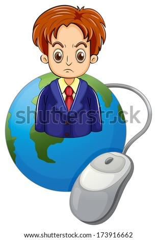 Illustration of a strict businessman above the globe on a a white background - stock photo