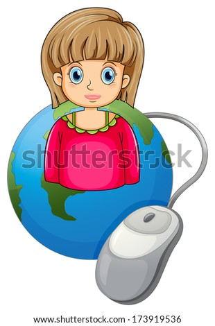 Illustration of a strict businesswoman above a globe on a white background - stock photo