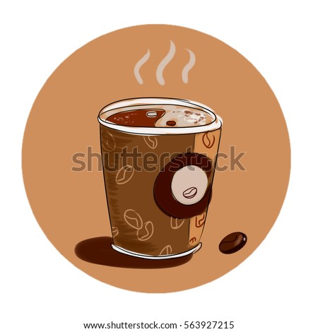 Illustration Stylish Hot Cozy Cup Coffee Stock Illustration