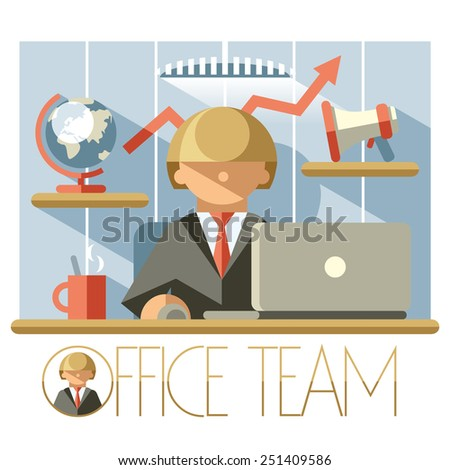Illustration of a successful leader at his workplace - stock photo
