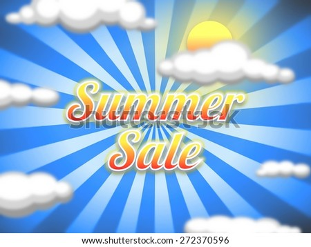 "Illustration of a sun and sky background with the words ""Summer Sale"" - stock photo"