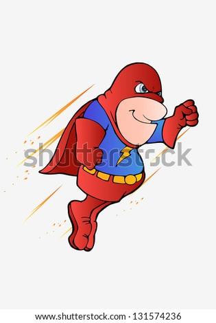 illustration of a super hero flying on isolated white background - stock photo