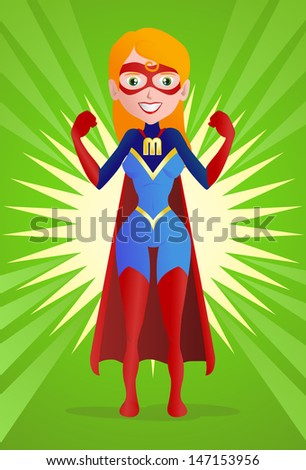 illustration of a super mom pose on spread powerful background - stock photo