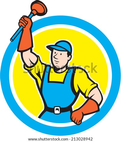 Illustration of a super plumber holding raising plunger set inside circle on isolated background done in cartoon style.
