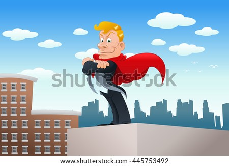 illustration of a super young businessman over a city background