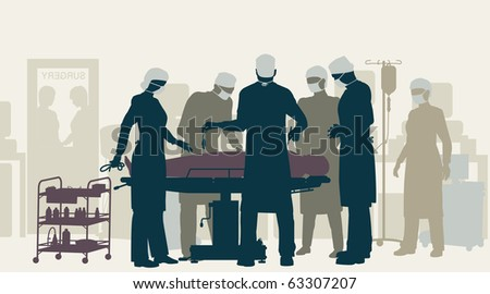 Illustration of a surgery in an operating room - stock photo