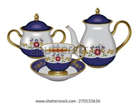 Illustration of a teapot, a sugar pot and a teacup./ Blue. / Tea, Herbal tea, Oolong tea. - stock photo