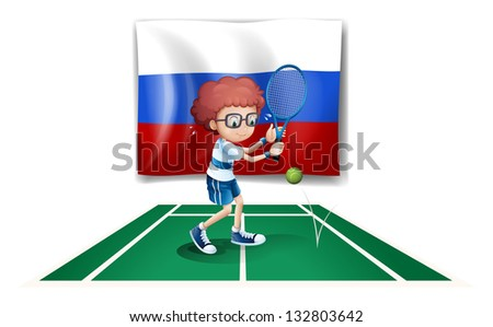 Illustration of a tennis player in front of the Russian flag on a white background