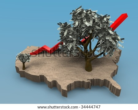 illustration of a the growth of a money tree on a map of the USA - stock photo