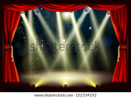 Illustration of a theater stage with lots of stage lights or spotlights with footlights - stock photo