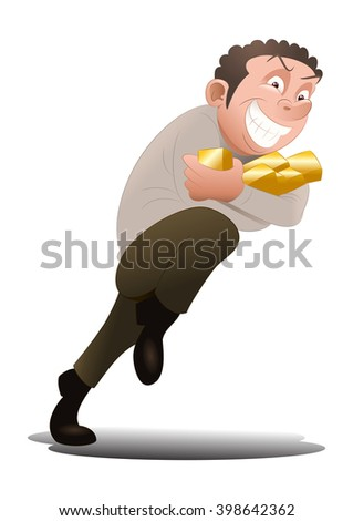 illustration of a thief businessman steal golden bar on isolated white background - stock photo