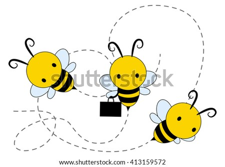 illustration of a three honey bee flying over isolated white - stock photo