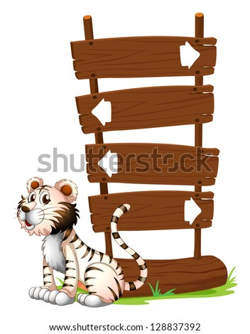 Illustration of a tiger beside a signboard on a white background