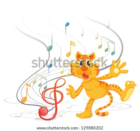 Illustration of a tiger with musical notes on a white background - stock photo