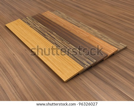 Illustration of a timber floor with different colour of a parquet