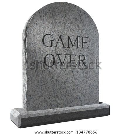 Illustration of a Tombstone with Amusing Game Over message - stock photo