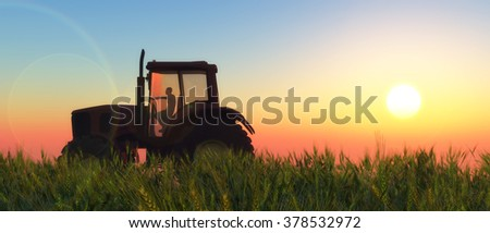 illustration of a tractor circulating in wheat field - stock photo