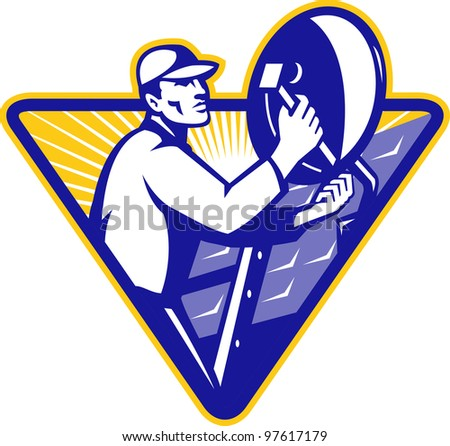Illustration of a tradesman worker installing satellite dish set inside triangle done in retro style.