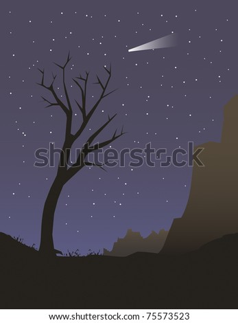 Illustration of a tree under night sky - stock photo