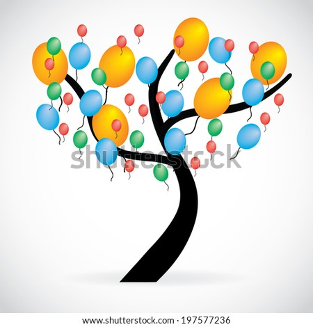 Illustration of a tree with multicolored balloons, isolated on white