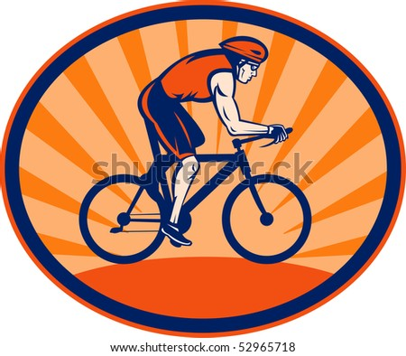 illustration of a Triathlon athlete riding cycling bike set inside an oval