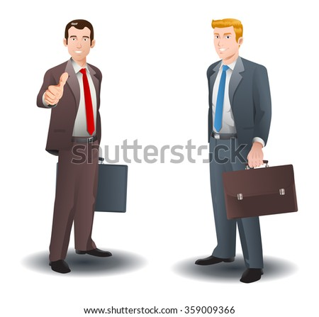 illustration of a two businessman standing on isolated white background - stock photo