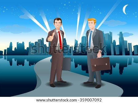 illustration of a two businessman stepping to city for success career - stock photo
