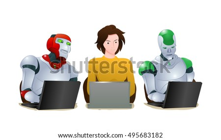 illustration of a two droid robot and woman learning laptop on isolated white background