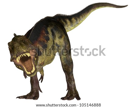 Illustration of a Tyrannosaurus (dinosaur species) isolated on a white background