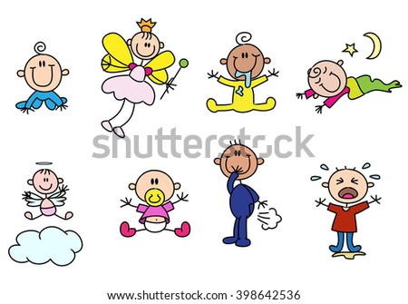 illustration of a variety cute stick baby figures on isolated white background - stock photo