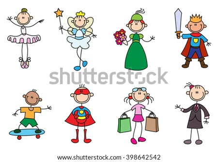 illustration of a variety stick man hobby over a white background - stock photo