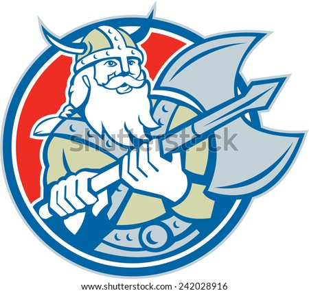Illustration of a viking warrior raider barbarian with axe set inside circle on isolated background done in retro style. - stock photo