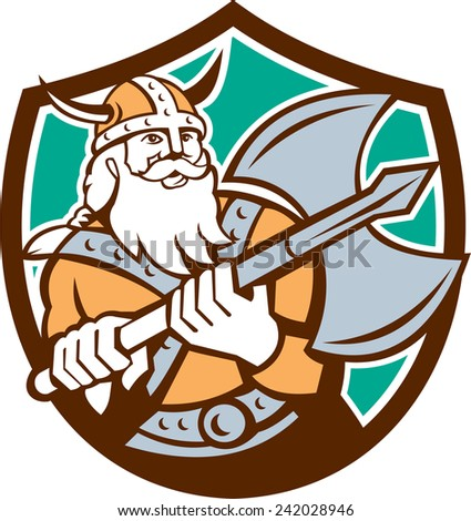 Illustration of a viking warrior raider barbarian with axe set inside shield crest on isolated background done in retro style. - stock photo