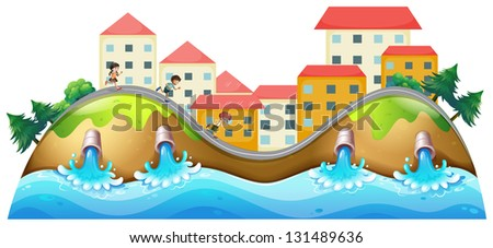 Illustration of a village with three childrens running along the drainage - stock photo
