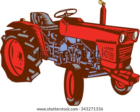 Illustration of a vintage farm tractor set on isolated white background viewed from the side done in retro woodcut style.  - stock photo