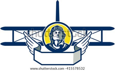 Illustration of a vintage world war one pilot airman aviator bust inside a circle with spad biplane fighter plane and wings in front done in retro style.  - stock photo