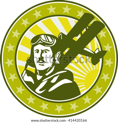 Illustration of a vintage world war one pilot airman aviator bust with spad biplane fighter planes, sunburst and stars in background set inside circle done in retro style.  - stock photo