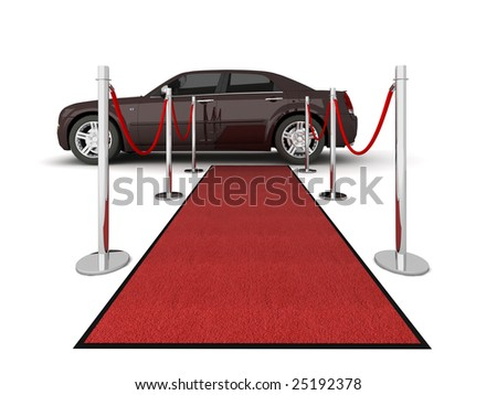 Illustration of a VIP red carpet leading with waiting limousine. Isolated on white. - stock photo