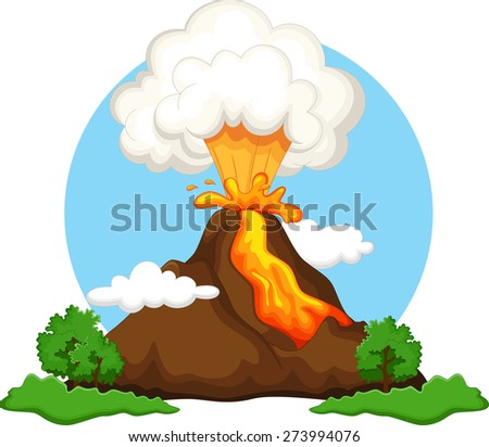 Illustration of a volcano erupting - stock photo