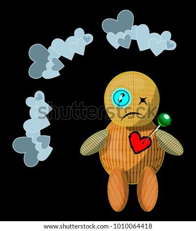 Illustration Voodoo Doll Pierced Heart Lil Monster Stock