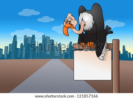 illustration of  a vulture bird perch on top of blank sign board on city background - stock photo