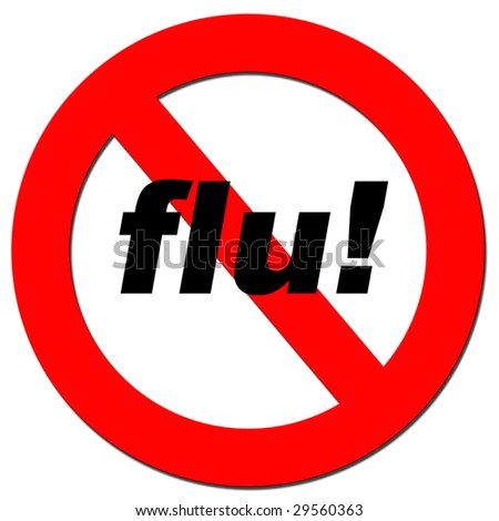 Illustration of a warning signal with the word flu - stock photo