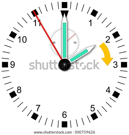 Illustration of a watch for change wintertime - stock photo