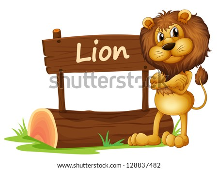 Illustration of a wild lion on a white background